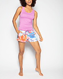 Aimee Jersey Vest Pink And Abstract Floral Print Short White Mix TKD Lingerie Cyberjammies Fashion F