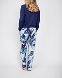 Ellie Slouch Jersey Navy Top and Leopard Print Pant White Mix TKD Lingerie Cyberjammies Fashion B1