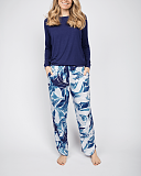 Ellie Slouch Jersey Navy Top and Leopard Print Pant White Mix TKD Lingerie Cyberjammies Fashion F1