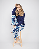 Ellie Slouch Jersey Navy Top and Leopard Print Pant White Mix TKD Lingerie Cyberjammies Fashion l2