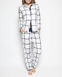 Emily Check Print Top And Print Pant White Mix TKD Lingerie Cyberjammies WS1