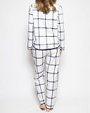Emily Check Print Top And Print Pant White Mix TKD Lingerie Cyberjammies WS2