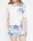 Isla Knit Top And Short Pink Placement Print TKD Lingerie Cyberjammies Nightwear f