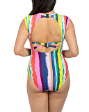 Juliet Capped Sleeved Swimsuit Rainbow TKD Lingerie Lilly Lime Fashion B1