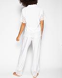 Leah Embroidered PJ Set White TKD Lingerie Cyberjammies Fashion B1