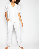 Leah Embroidered PJ Set White TKD Lingerie Cyberjammies Fashion F1
