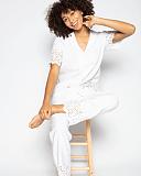 Leah Embroidered PJ Set White TKD Lingerie Cyberjammies Fashion L6