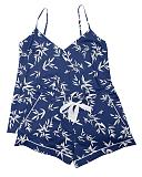 Libby Bamboo Leaf Print Cami And Short Indigo Mix TKD Lingerie Cyberjammies Fashion CF1