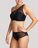 Onyx One Shoulder Moulded Bikini And Midi Pant Black TKD Lingerie Panache Swimwear Fashion F1
