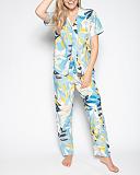 Phoebe Leaf Print PJ Set Blue Print TKD Lingerie Cyberjammies Fashion F1