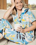 Phoebe Leaf Print PJ Set Blue Print TKD Lingerie Cyberjammies Fashion L1
