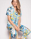 Phoebe Leaf Print PJ Set Blue Print TKD Lingerie Cyberjammies Fashion L9