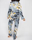 Rachel Floral Print PJ Set Grey Mix TKD Lingerie Cyberjammies Fashion B1