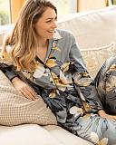 Rachel Floral Print PJ Set Grey Mix TKD Lingerie Cyberjammies Fashion L2