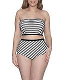 Sunseeker Bandeau Bikini And High Waist Brief Monochrome TKD Lingerie Curvy Kate Swimwear Fashion F1