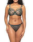 Surrender Plunge Bra And Thong Emerald TKD Lingerie Scantily Luxury F1