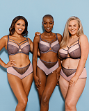 Victory Pin Up Balcony Bra And Short Grey Pink TKD Lingerie Curvy Kate Fashion L3