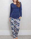 ZOE Knit Top Navy And Pant Navy Mix Floral Print TKD Lingerie Cyberjammies Nightwear pf