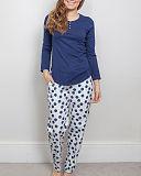 ZOE Knit Top Navy And Pant Navy Mix Polka Dot Print TKD Lingerie Cyberjammies Nightwear pf