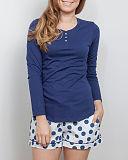 ZOE Knit Top Navy And Short Navy Mix Polka Dot Print TKD Lingerie Cyberjammies Nightwear pf