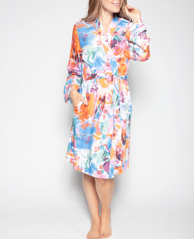 Aimee Abstract Floral Print Short Dressing Gown