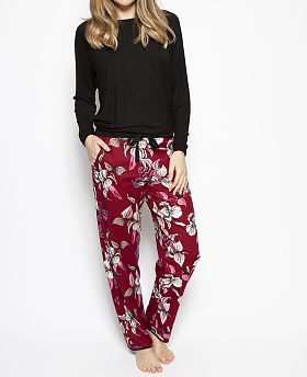 Alice Slouch Knit Top and Woven Floral Print Pyjama Set