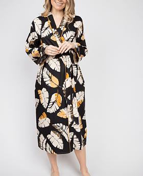 Annie Leaf Print Long Dressing Gown