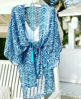 Azure Blues Short Kimono