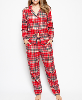 Belle Woven Brushed Long Sleeve Check Pyjama Set