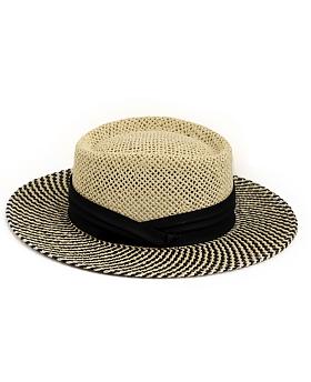 Betty Vintage Boater Hat Black Mix