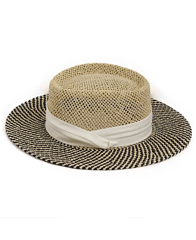 Betty Vintage Boater Hat White Mix