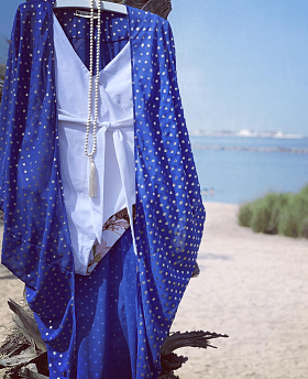 Cobalt Blue And Gold Spot Three Quarter Batwing Kimono