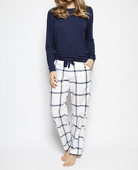 Emily Slouch Knit Top and Woven Check Print Pyjama Set