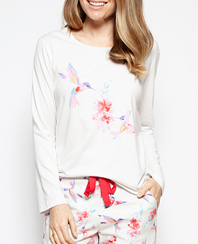 Evie Placement Print Knit Top and Hummingbird Print Shorts Set