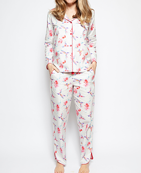 Evie Woven Long Sleeve Hummingbird Print Pyjama Set
