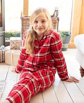 Girls Robyn Brushed Check Pyjama Set