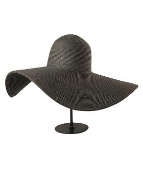 Grace Oversized Straw Sun Hat, Black