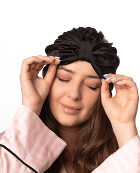 Silk Hair Turbans for Sleeping Black