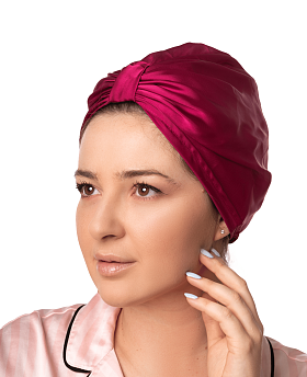 Silk Hair Turbans for Sleeping Fuschia