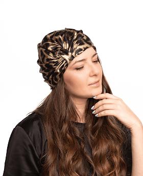 Silk Hair Turbans for Sleeping Leopard Print