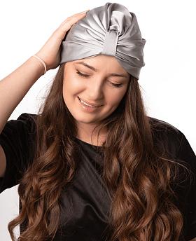 Silk Hair Turbans for Sleeping Silver