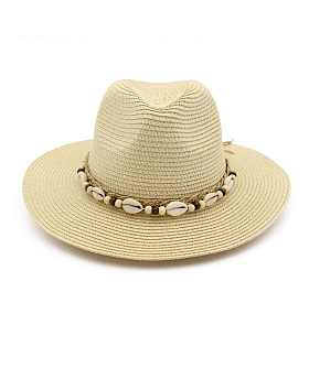 Lauryn Straw Fedora with Shell Rope Detail, Beige