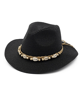 Lauryn Straw Fedora with Shell Rope Detail, Black