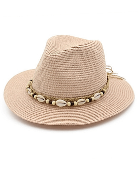 Lauryn Straw Fedora with Shell Rope Detail, Pink