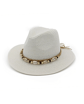 Lauryn Straw Fedora with Shell Rope Detail, White