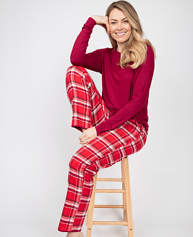 Robyn Slouch Jersey Top And Check Pyjama Set